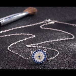 White gold over sterling silver evil eye necklace